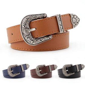 Piel Laamei Hup Mujeres Negro Vaquera occidental del cinturón de cintura de la pretina de la hebilla del metal Nueva Hot Cinturones para mujer de marca