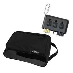 لعبة غولف أحذية حقيبة السفر حذاء الحقيبة حالة حمل 2x1''Golf فرشاة تنظيف الأسود