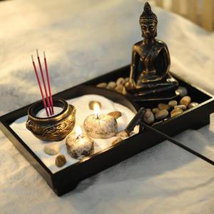 Estátua de Buda Zen Queimador De Incenso Areia Meditação Pacífica Relax Decor Kit Kit Queimador de Incenso de Buda Decoração Feng Shui
