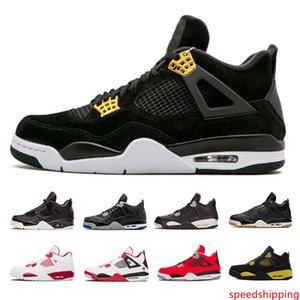 20194 أحذية كرة السلة 4s رجال من العائلة المالكة الخالصة الأسمنت الأبيض الأسود ولدت النار الأحمر Womens المدربين الرياضيين Sneakerss مقاس 36-47