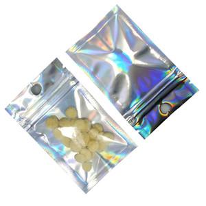 200pcs clair Aluminium Foil Laser ordinaire Fermeture éclair Sac de verrouillage d'emballage avec trou de Hang Party Crafts pour Zip Mylar stockage en plastique verrouillage Pouches Paquet