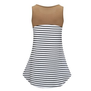 pregnant maternity sleeveless vest breastfeeding top Stripe Nursing tops blouse breast feeding clothes cloth for women ZF