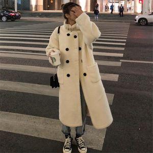 MUMUZI 2019 New Fashion Beige Faux Fur Coat Cappotto invernale Donna lungo stile Gilet di pelliccia Giacca donna Cappotti per le signore