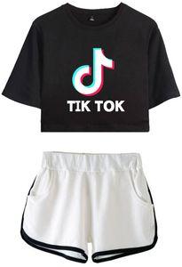CINPOO Ladies / Girls TIK Tok Impresso T-Shirt Set Music Video App Logo Crop Top com Shorts Hip Hop Streetwear Conjuntos de Pijama Frete Grátis