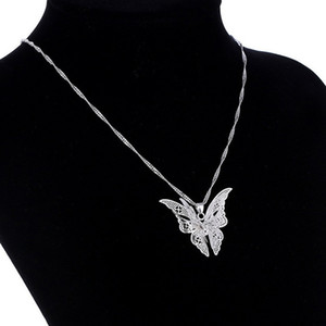 Hollow Butterfly Pendant Necklace 925 Silver Jewelry Charms Choker Necklace with Chain Multilayer Fashion Animal Necklaces for Women Girls