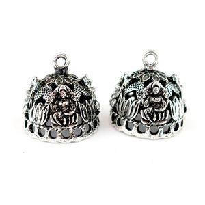 22843 4pcs lot Vintage Silver Hollow Buddha lotus Crown Hat Curve Carve Filigree Pendant Tassel Cap Bead Cap