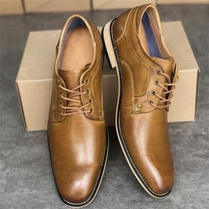 2020 scarpe da uomo vestito di pelle Oxford Lace Up Business scarpe firmate Nero Marrone di alta qualità a punta formale scarpe Ufficio Big Size