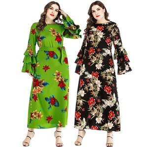 Damen 6XL Plus Size Kleid Frühling Designer Floral Print Bogen Schärpen Rüschen Sleeve Weibliche Mode Lässige Kleidung