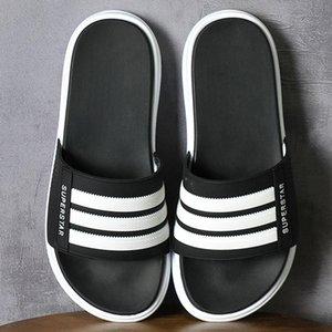 Black Slippers Men Summer PVC Sole Striped Beach Slipper Wear-resistant Casual Mans Footwear Indoor non-slip bathroom slippers