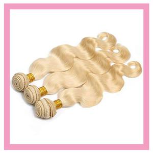 Malásia cabelo virgem corpo onda de luz Loiro Cor Extensions 613 # Cabelo Humano 10-30inch Duplo tramas Loira 3 Pacotes