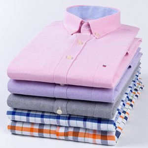 2020 Hot Sale New Oxford Spinning Lattice Mens Short-sleeved Casual Shirt Mens Solid Color Classic Fashion T-shirt Wholesale Europe
