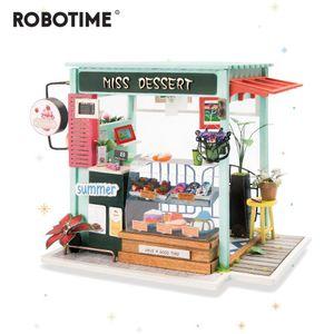 محطة آيس كريم Robotime DIY مع أثاث الأطفال البالغين نموذج بيت الدمى الخشبي المصغر بناء الدمى DGM06 Y200413