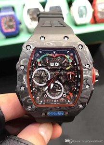 2019 Homens novos Luxo relógio mecânico relógio automático do sincronismo caso de fibra de carbono RM 50-03 Rubber strap fivela original relógio de pulso Mens Sports