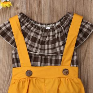 2 UNIDS Bebé Niños Chicas Compruebe la camiseta Tops Blusa + Bib Shorts Pantalones Ropa general
