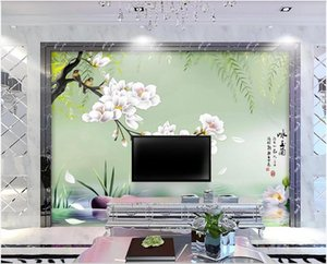 3d landscapes wall custom mural wallpaper Hand painted hd willow branch magnolia flower bird tv background 3d mural on the wall stickers