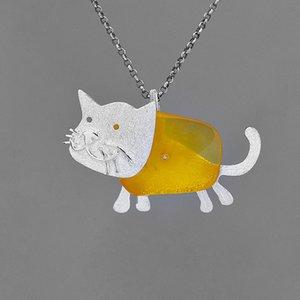 INATURE Natural âmbar pendente de colar bonito gato 925 Colares de cadeia Sterling Animais prata PET para Mulheres Jóias Presente de aniversário