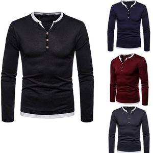 M - XXL Männer Langarm-T-Shirt Blank Plain T Man Cotton V-Ausschnitt Buttons Autumn Black Red Navy Plus Size Grundieren Tops