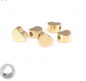 100PCS 6MM Gold Silber Farbe Überzogener Messingherzform Spacer-Korn-Armband-Korn-Qualitäts-DIY Schmuck Accessoires