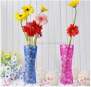 Unbreakable Foldable Reusable Plastic Flower Vase Creative Folding Magic PVC Vase 12cm*27cm Mix Color Home Decor