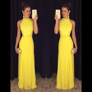 Платья для выпускного вечера 2019 A Line Yellow O Шея Вечерние платья Вечерние платья Аппликации Кружевные шифоновые вечерние платья