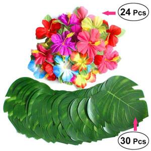 30Pcs Artificial Plant Simulation Blätter Tropische Palmblätter 24 Blütenblätter Naturgetreue Hibiscus Blütenblätter DIY-Partei-Dekoration
