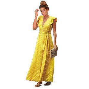 Spring summer 2020 new cross border European and American womens dress Vneck Ruffle sleeve split print wave point high waist dress
