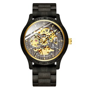 Men's business fashion trend hollow wooden shell waterproof luminous tourbillon week display moon phase automatic mechanical watch watch