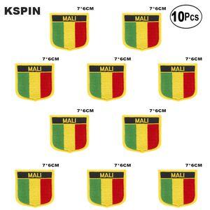 Bandera de Malí bordado parches de hierro en Sierra de transferencia de parches de aplicaciones de costura de ropa en huerto casero 10Pcs