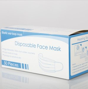 Masque de protection à usage unique visage Boîtes 3 couches anti-poussière Masque Masques couverture du visage Set masque anti-poussière avec Color Box Retail Box YP521