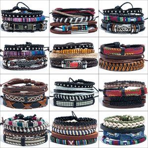 ashion Jewelry Bracelets Lucky Vintage Men's Leather Bracelets Jewelry Skull Leaf Leaves Charm Multilayer Braided Chain Bracelet Women Pu...