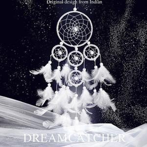 Creative Five Rings Dream Catchers Home Decorativo Fantasía Pluma blanca Dream Catcher Delicado Hecho a mano Distintivo Campanas de viento