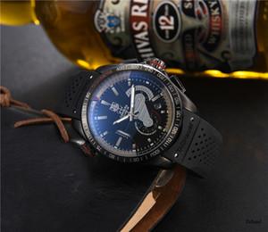 2020 Marca de luxo relógio de quartzo Automatic Calendário 43 milímetros Silicone Strap Top Quality 30m Waterproof do relógio dos homens do relógio Relógio frete grátis