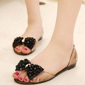 Sandálias de PVC Verão Mulheres transparentes 2020 Chegada Nova confortáveis BowNot Flats sapatos para mulher Tampa Heel Slip On Jelly Shoes