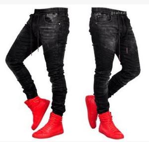Jeans de ropa para hombre elástico de la cintura los pantalones de Jean pantalones largos Pantalones Negro Deportes del basculador