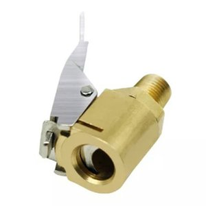 Brass Lock-on Tire Inflator Female Air Chuck With Clip For 8V1 Thread Auto Tires