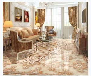 Pavimento 3D pavimento impermeabile carta da parati murale decorazione d'interni Soggiorno europeo lusso mattonelle di marmo mosaico pavimento impermeabile