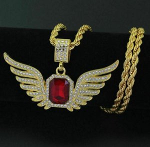 Hip Hop Men Gold Plated Red Crystal Wing Iced Out Pendant Necklace