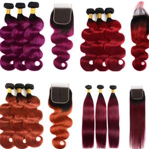 Ombre Brasilianisches Haar Spinnt Mit 4X4 Spitzeschliessen Menschenhaar Bundles Peruanische Indische Malaysische Remy Haarverlängerungen