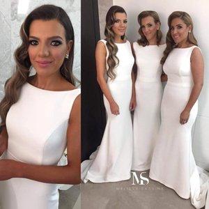 2020 страна простой белый Русалка платья невесты без рукавов развертки поезд оболочка простые вечерние платья свадебные платья для гостей BO8390