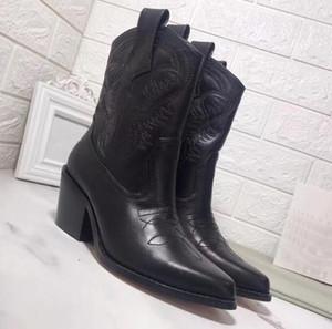 Новые 2019 роскоши дизайнера женщин Ботильоны из натуральной кожи Зимних западных ботинок женщин Cowboy ботильоны вышивки острого нос Мартин обувь
