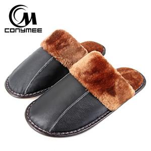 CONYMEE Inverno pantofole degli uomini del cuoio genuino pattini piani 2018 casa calda coperta Scarpe Sneakers Fur antiscivolo in cotone Oxford Slipper