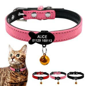 Free Engraving Personalized Cat Collar Custom Leather Cat Collars Engraved Name Phone Number Cats Necklace Accessories With Bell