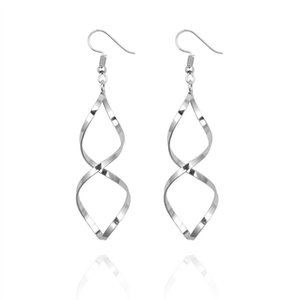 Drop Fashion wave double circle drop women's long hanging earrings statement high quality wedding jewelry wholesale