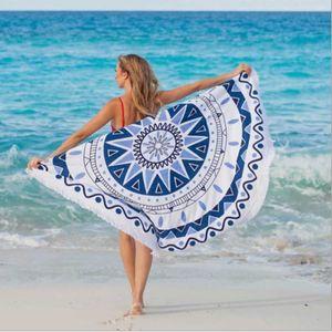 La toalla de playa de la forma redonda Mandala india Tapiz Mantón impreso floral de la flor de loto banda gitana Hippie Yoga Mat Manta Poliéster