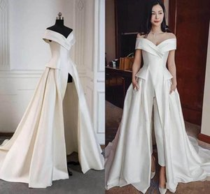 Woman Jumpsuit Off The Shoulder Long Evening Dresses 2019 Sleeveless Ruched Floor Length Formal Party Red Carpet Prom Gowns E72