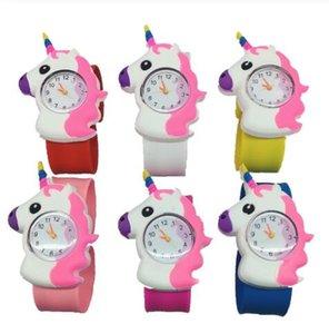 Çocuklar Unicorn İzle 3D Karikatür Unicorn Kuvars saatler Silikon Band tokat İzle Çocuklar hediye doğum günü GGA3414-2 saatler