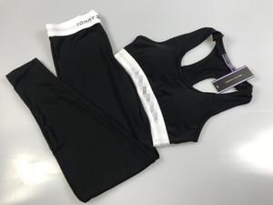 Женщины Спортивные костюмы Топы Брюки Crop 2pcs костюмы конструкции Slim Fit Спорт Йога одежда Комплекты Женщины йоги Женщины Tracksuit жилет Брюки B105244L