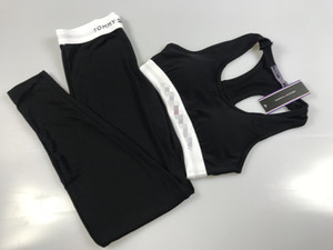 Mulheres Fatos Cortar Tops Calças 2pcs Suits projeto Slim Fit Sports Yoga Vestuário Define mulheres Suits Yoga Mulheres Treino Vest Calças B105244L