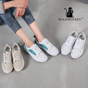 MALEMONKEY 912047 New Chaussures Femme Chaussures à lacets respirante Blanc 2020 Marcher Mode couture femme Chaussures plates occasionnels femmes