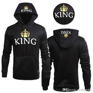 Mens Women Love Hoodies Couples Matching Clothes Sweatshirts Queen King Hooded Pullovers